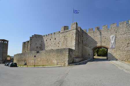 Arta, Greece - September 18, 2019: Medieval castle with gate in the city in south of Epirus county