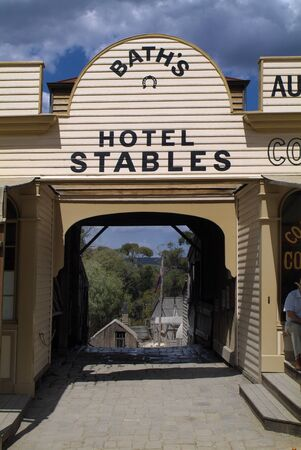 Ballarat, VIC, Australia - January 23, 2008: Builing on Sovereign Hill - a rebuilt gold digger village and preferred tourist attraction in Victoria