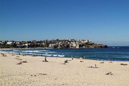 Sydney, NSW, Australia - May 07, 2010: Unidentified people relaxing on Bondi Beach