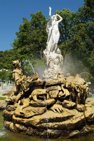 Baden, Austria - July 17, 2009: Undine Fountain in Kurpark, city is well known for spa with thermal water