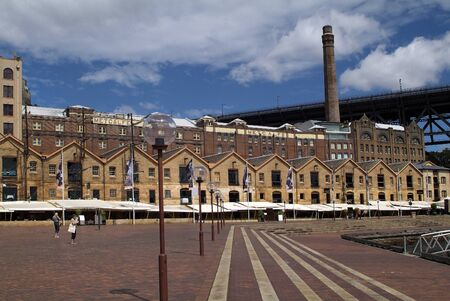 Sydney, Australia - February 12, 2008: Unidentified people and former warehouses in The Rocks district