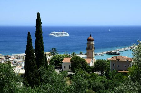 Greece, Zakynthos town and ferry in Ionian sea