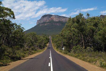 Australia, straight road to Mt. Abrupt in Grampians National Park
