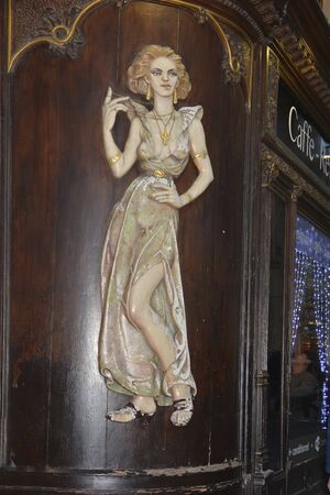 Prague, Czech Republich - December 02, 2015: Art nouveau painting on a cafe in downtown of the capital