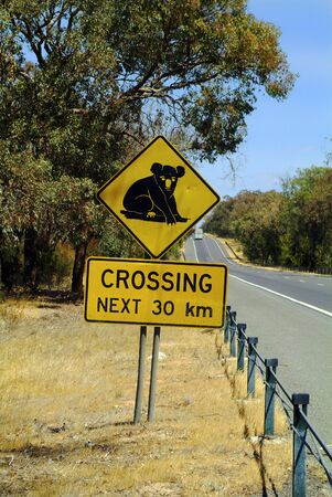 Australia, warning sign for animal crossing