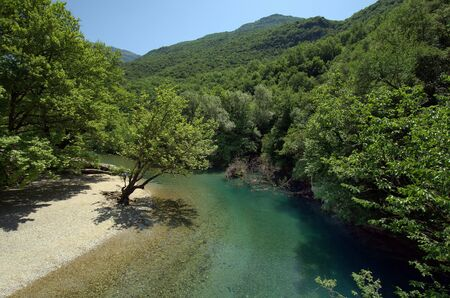 Greece, Epirus, Voidomatis river with crystal clear water in Vikos-Aoos National Park