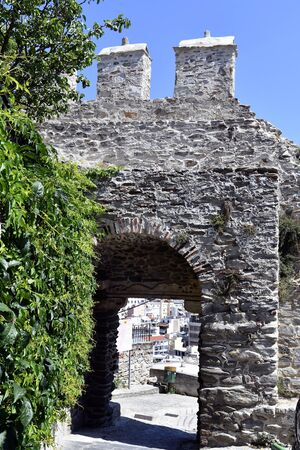Greece, Kavala, archway in fortified wall
