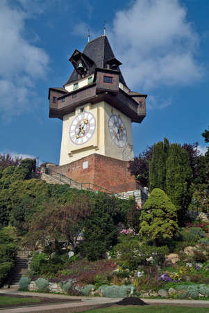 Austria, the medieval clock tower named Uhrturm is located on the top of Schlossberg hill and is the landmark of Graz, the capital of Styria