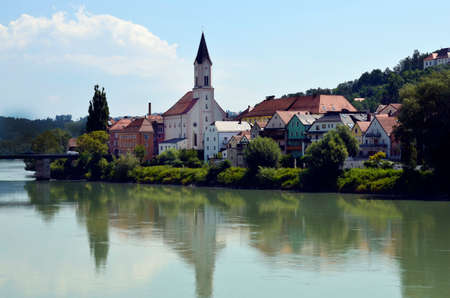 Germany, Innstadt is a part of Passau on the right bank of the Inn with houses and church St. Gertraud