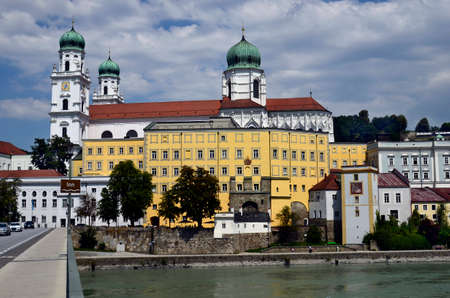 Germany, St. Stephen's Cathedral is a baroque episcopal church in the city of Passau in Bavaria near the border with Austria, lies at the confluence of the Danube, Ilz and Inn rivers and is therefore also called the three rivers city 写真素材