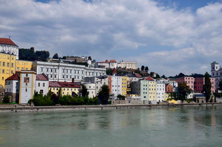 Germany, cityscape of the old town district along Inn river in the city of Passau in Bavaria near the border with Austria, lies at the confluence of the Danube, Ilz and Inn rivers and is therefore also called the three rivers city