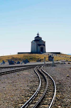 Austria, rails of the rack railway and Sisi chapel - built by Habsburg Emperor Franz Joseph in memory of his wife Empress Sisi on Schneeberg mountain
