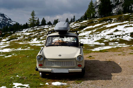 Tauplitz, Austria - September 24, 2017: Vintage car Trabant 601 the nickname was Trabi produced in the former Democratic Republic of Germany aka East Germany