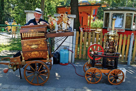 Vienna, Austria - September 02, 2006: International meeting from organ grinders with their different barrel organs in Bohemian Prater in Vienna, special version with steam drive