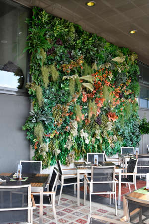 Linz, Austria - October 24, 2012: The capital of Upper Austria was European capital of culture in 2009, green wall on the terrace of a bar in the castle on Schlossberg