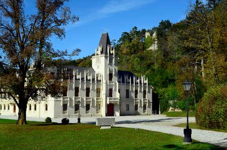 Hernstein, Austria - October 19,2014: Castle Hernstein in Lower Austria, tourist attraction and hotel especially for management seminars
