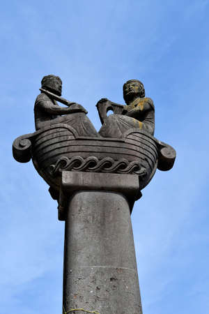 Linz, Austria - October 24, 2012: The capital of Upper Austria was European capital of culture in 2009, pillar on Schlossberg represents a Nibelung ship with King Gunther and the minstrel Volker von Alzey made by Austrian sculptor Peter Dimmel