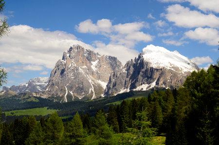 Italy, South Tyrol, Alpe di Suisi, Sasso Longo and Sasso Piatto