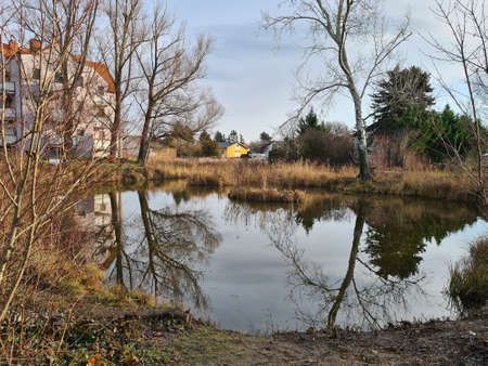 Austria, small village pond in the community of Reisenberg in Lower Austria