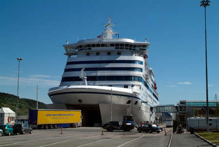 Oslao, Norway - June 21, 2009: cars and truck on ferry terminal in Oslo Editorial