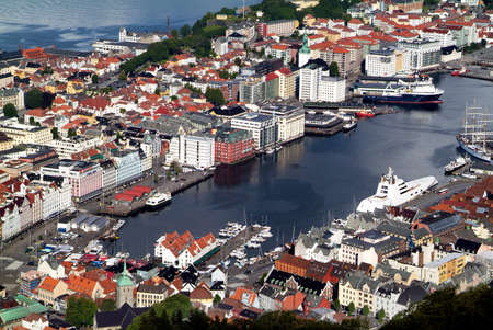 Norway, aerial view to Vagen harbor in Bergen