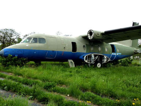 Crash landing - old plane in airport Berlin-Tempelhof, Germany Stock Photo