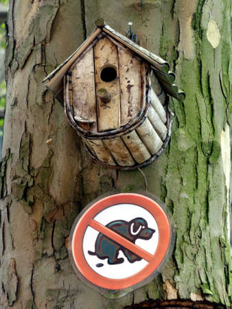 birdhouse and signboard on a tree in Berlin, no toilet for dogs photo