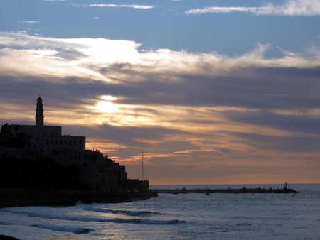 view onTel Aviv-Jaffa in evening twilight photo