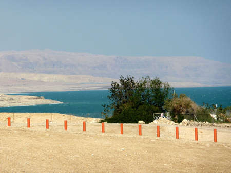 stakes on the beach of the Dead Sea photo