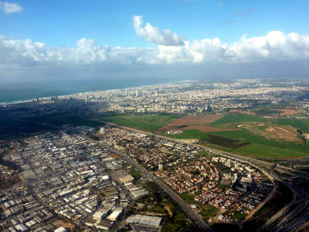Tel Aviv - aerial view from a plane photo