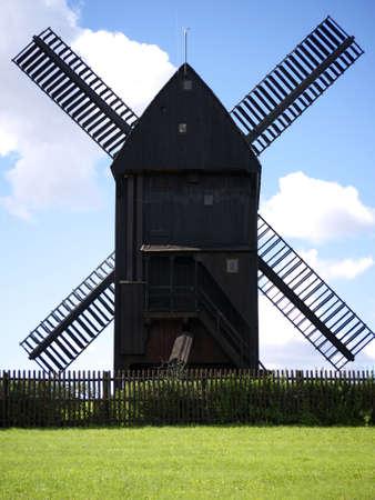 marzahn: Windmill in Berlin-Marzahn, Germany, built by Harrie Beijk, 1994 Stock Photo