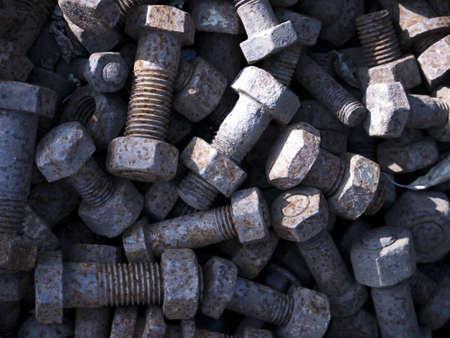 sleepers: screws from old railway sleepers Stock Photo