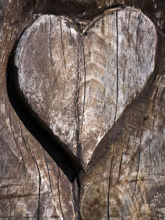 signifier: heart carved into a wood grain door