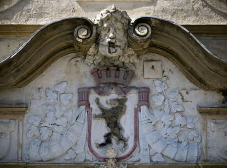 signifier: berlin city arms on a building in Nauen, Germany