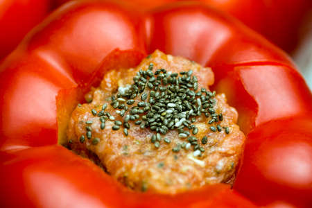 filled: Filled paprika with meat and chia seeds