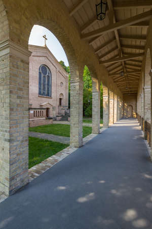 ludwig: Potsdam, district Bornstedt - The Church at Bornstedter cemetery was built in the 19th century, designed by Friedrich Ludwig Persius and Friedrich August Stiller in Italian style and rebuilt by Reinhold Persius in 1881. A special feature is the free-stand Stock Photo