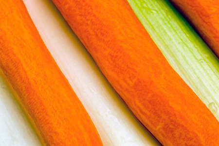 leeks: Carrots and leeks prepared for cooking. Stock Photo