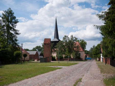 Village with church in Garz, in the municipality of Temnitztal in Ostprignitz-Ruppin, Brandenburg, Germany