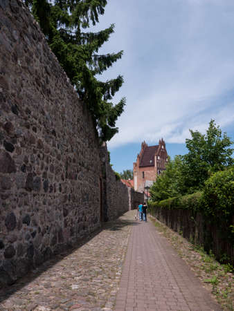 schutz: Gransee, county Oberhavel, state Brandenburg, Germany - medieval wall Stock Photo