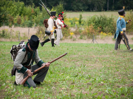 warzone: Grossbeeren, Teltow-Flaming, Brandenburg, Germany, August 2012: reenactment of the historical battle against the French troops under Napeoleon in defense of Berlin von 1813, led by General von Buelow.
