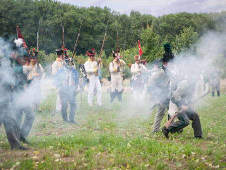 Grossbeeren, Teltow-Flaming, Brandenburg, Germany, August 2012: reenactment of the historical battle against the French troops under Napeoleon in defense of Berlin von 1813, led by General von Buelow. Stock Photo - 37547891
