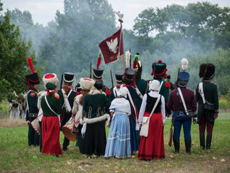 Grossbeeren, Teltow-Flaming, Brandenburg, Germany, August 2012: reenactment of the historical battle against the French troops under Napeoleon in defense of Berlin von 1813, led by General von Buelow.
