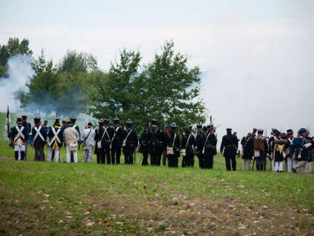 Grossbeeren, Teltow-Flaming, Brandenburg, Germany, August 2012: reenactment of the historical battle against the French troops under Napeoleon in defense of Berlin von 1813, led by General von Buelow. Stock Photo - 37547905