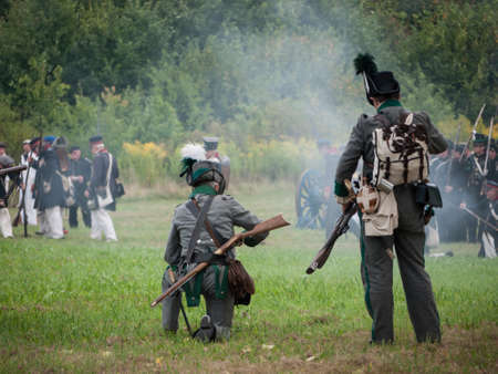 historical battle: Grossbeeren, Teltow-Flaming, Brandenburg, Germany, August 2012: reenactment of the historical battle against the French troops under Napeoleon in defense of Berlin von 1813, led by General von Buelow.