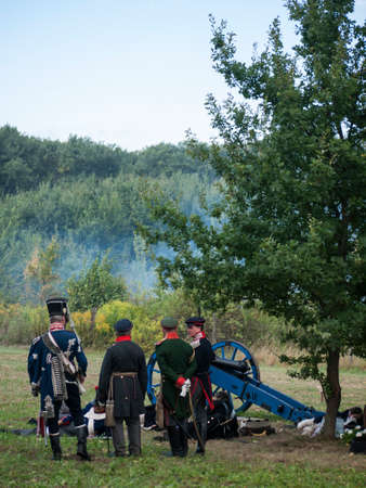 Grossbeeren, Teltow-Flaming, Brandenburg, Germany, August 2012: reenactment of the historical battle against the French troops under Napeoleon in defense of Berlin von 1813, led by General von Buelow. Stock Photo - 37547950