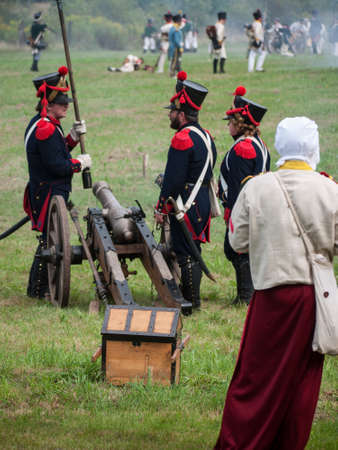 Grossbeeren, Teltow-Flaming, Brandenburg, Germany, August 2012: reenactment of the historical battle against the French troops under Napeoleon in defense of Berlin von 1813, led by General von Buelow. Stock Photo - 37547952
