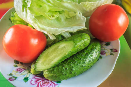 Colorful fresh group of vegetables for a balanced diet of large
