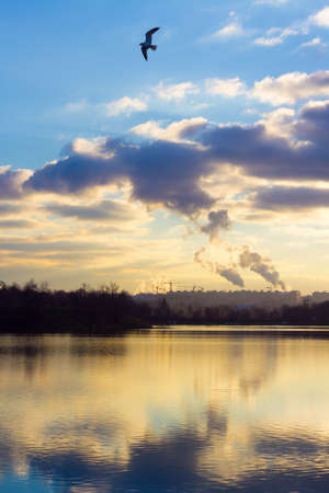 Coal burning power plant with pollution against dark clouds photo