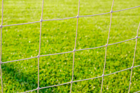 Athletic mesh and green grass sports field photo