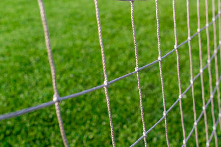Athletic mesh close-up and green grass sports field Stock Photo